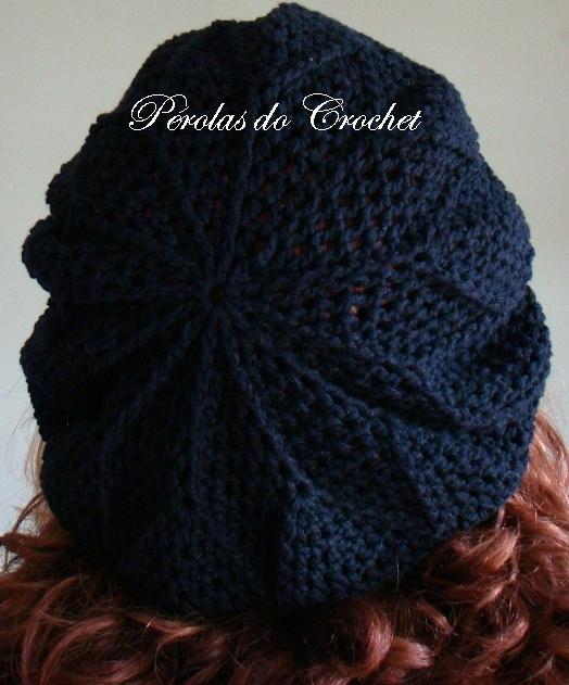 Renata Vieira Pérolas do Crochet  Boina de Croche - Burguesinha 18e99a934fe