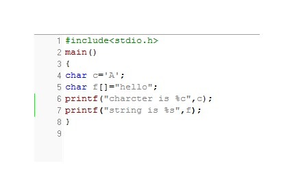 Charcter Example without escape sequence