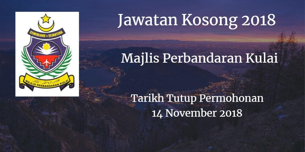 Jawatan Kosong Majlis Perbandaran Kulai 14 November 2018