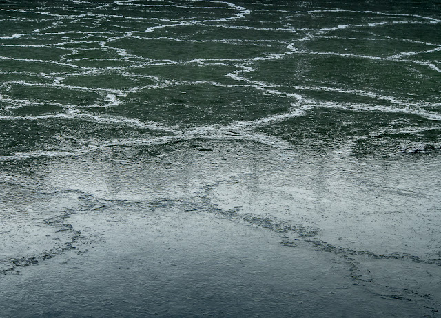 Photo of crazy paving patterns on the ice at Maryport Marina