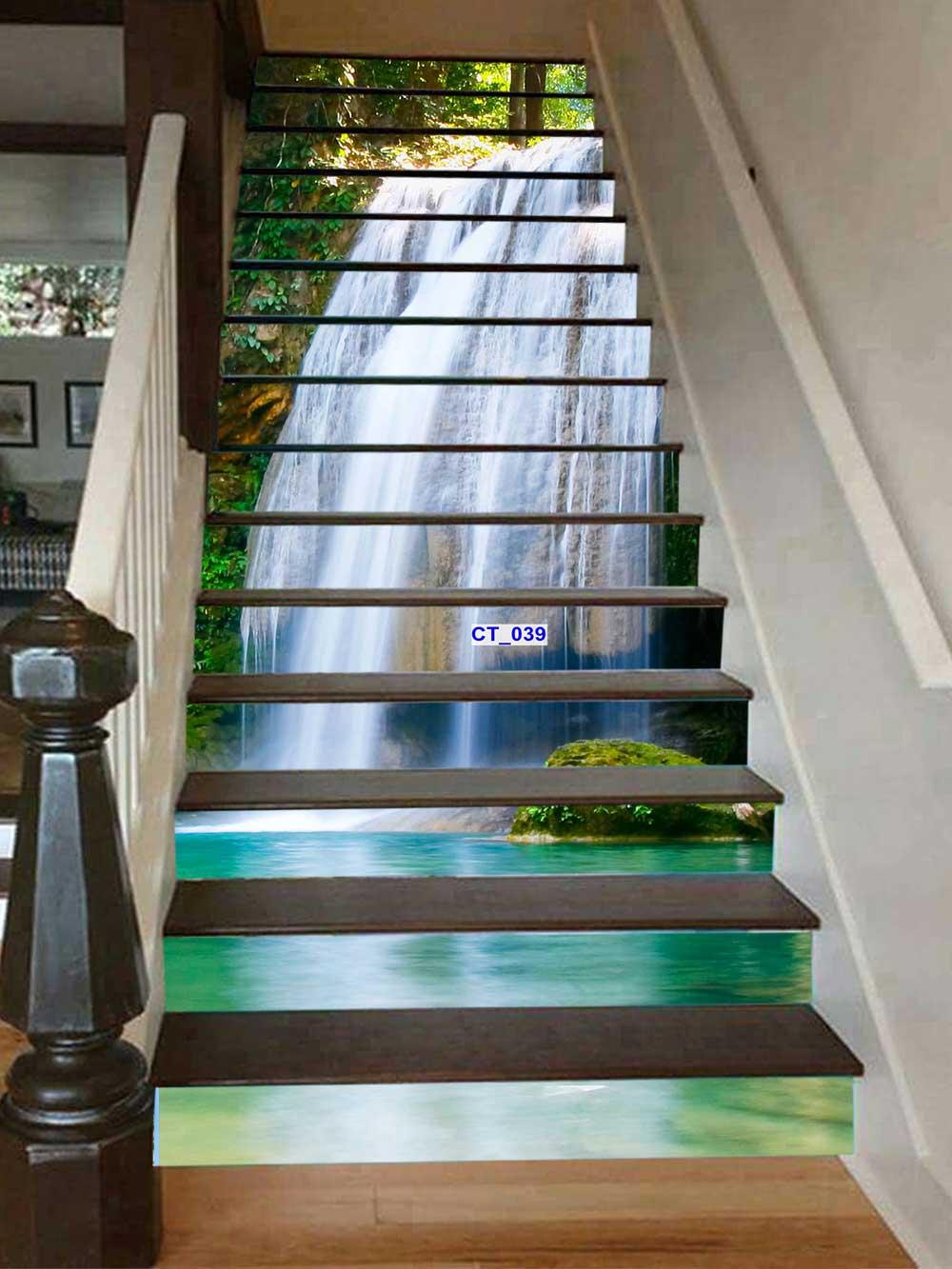 Tranh 3d bực  cầu thang thác nước