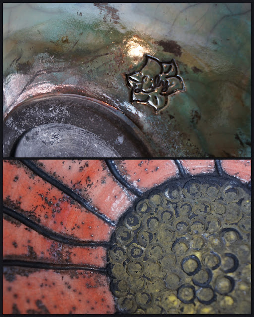Details of a floral raku-fired ceramic bowl by Lily L.