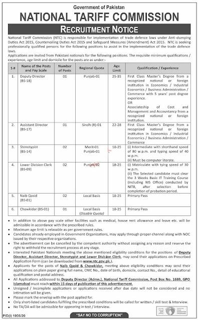 national-tariff-commission-ntc-pakistan-jobs-application-form