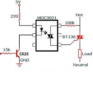 RMS Voltage Control Circuit with Opto Triac MOC3021 and