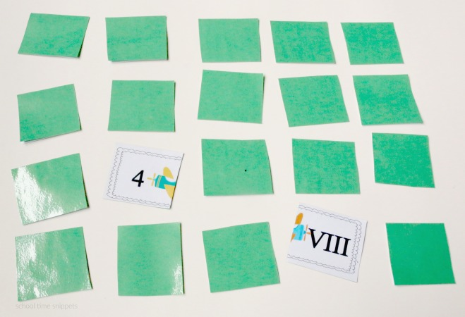 roman numerals printable matching game
