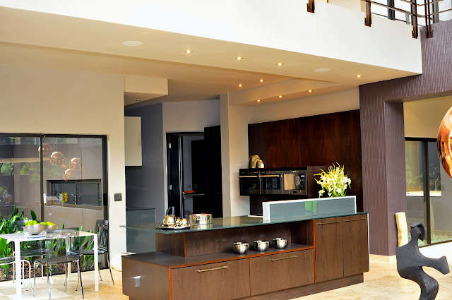 Picture of modern kitchen furniture as seen from the living room