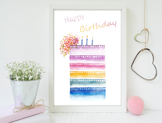 Cake Happy Birth Watercolor