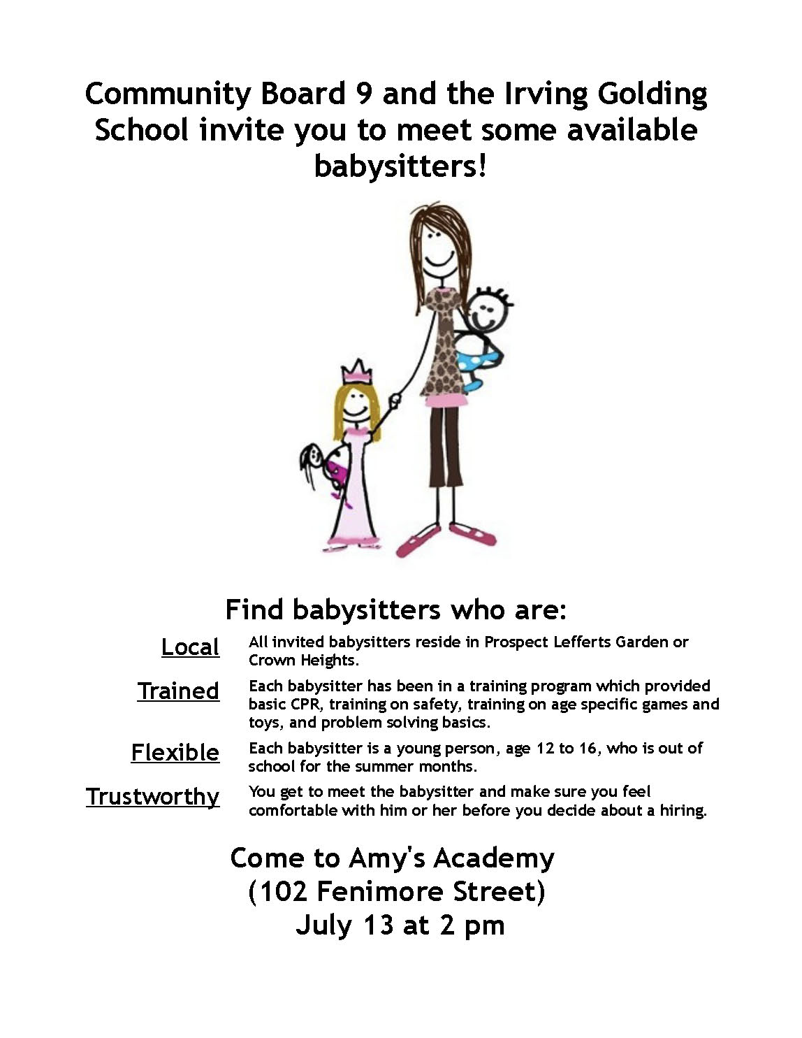 the q at parkside  parents  come meet your new babysitter