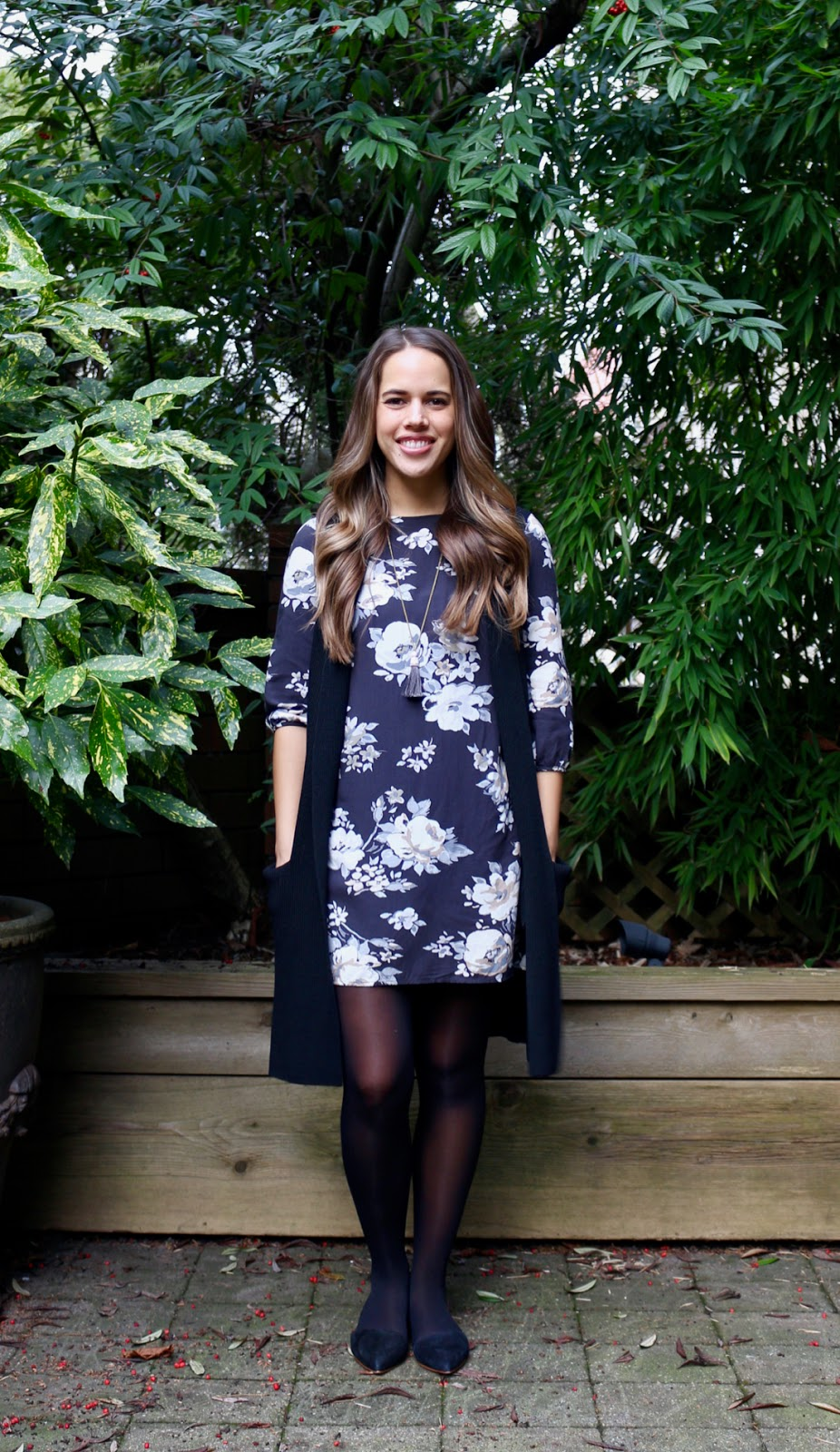 Jules in Flats - Floral Shift Dress with Long Sweater Vest (Aritzia Wilfred Dunkirk Olivie) (Business Casual Winter Workwear on a Budget)