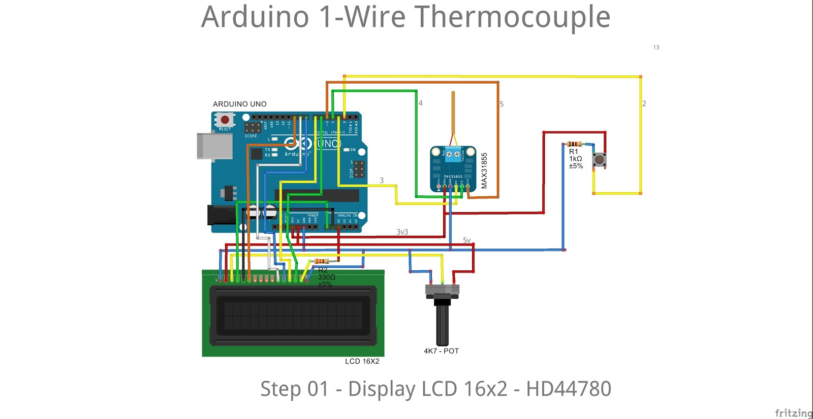 13 Arduserie Arduino 1 Wire Thermocouple In The Kitchen I2c Wiring Diagram Interface Because We Have Rtc Component That Will Occupy Pinout Liquidcrystalrs Rw Enable D4 D5 D6 D7