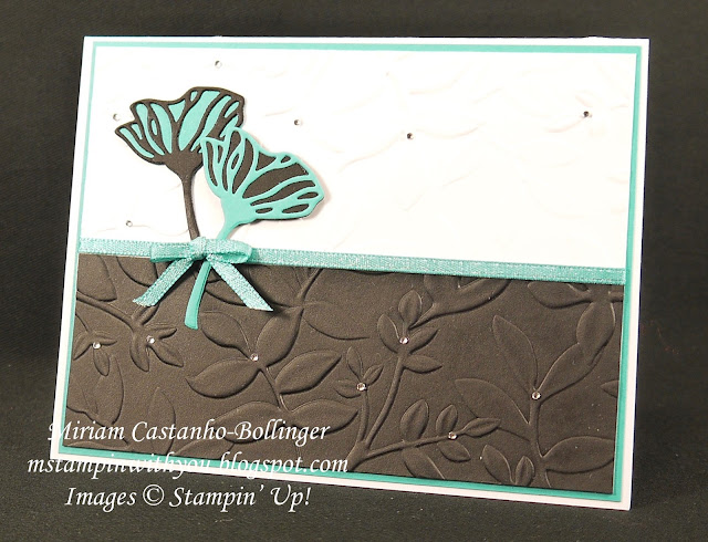 Miriam Castanho-Bollinger, #mstampinwithyou, stampin up, demonstrator, dsc, big shot, layered leaves DTIEF, eclectic layers thinlits, shimmer ribbon, all occasions card, su