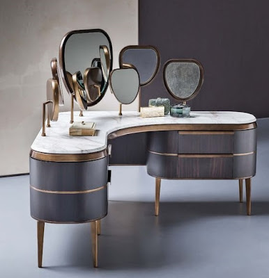luxury modern dressing table design with many mirrors