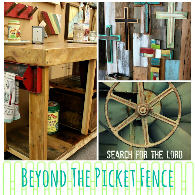 reclaimed wood island, rustic crosses, inspiring verse