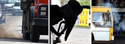 Fumaça e abastecimento de diesel