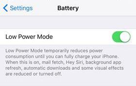 Habilitar el modo de energía de batería baja iOS 10