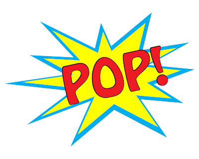 photo of free printable for a superhero party theme that says POP with a yellow and blue pop background