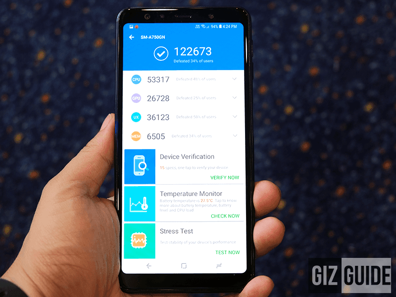 Galaxy A7 (2018)'s Antutu score is 122673!