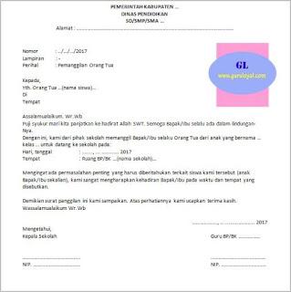 format surat panggilan untuk orang tua siswa