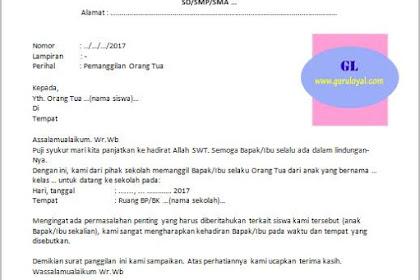 Contoh Surat Panggilan Orang Tua Siswa karena Masalah