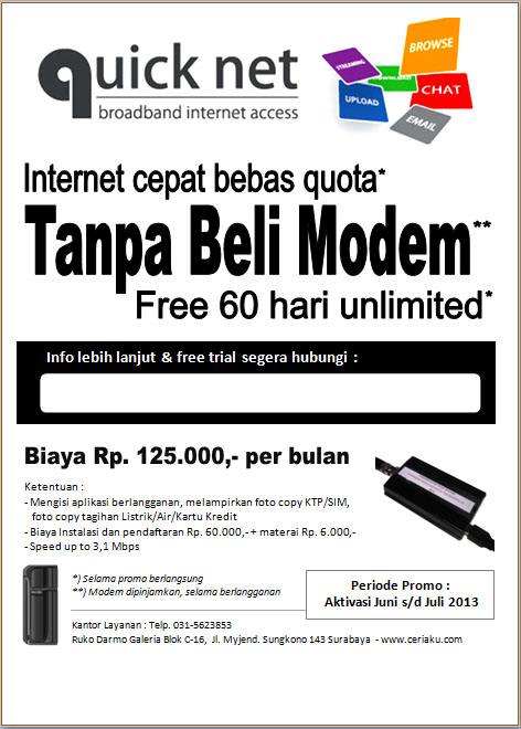 Promo Internet Cepat Bebas Quota by Quicknet