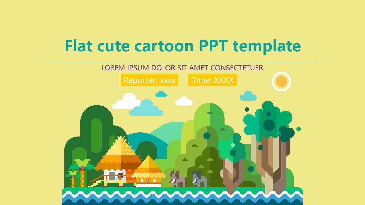Flat Cute Cartoon Ppt Template Template Powerpoint Free