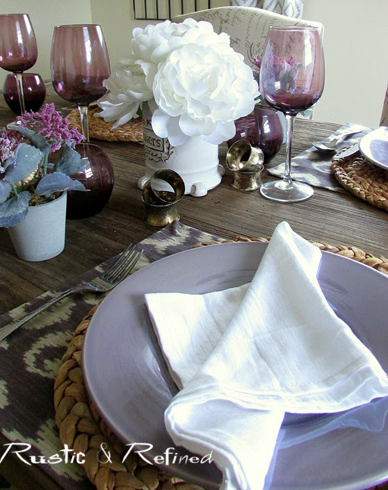 Casual Tablescape for Spring using Purple and white color scheme