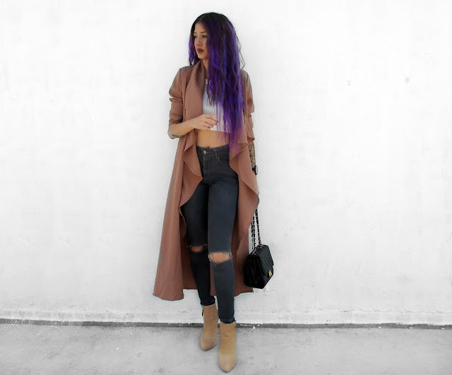 purple hair fashion blogger
