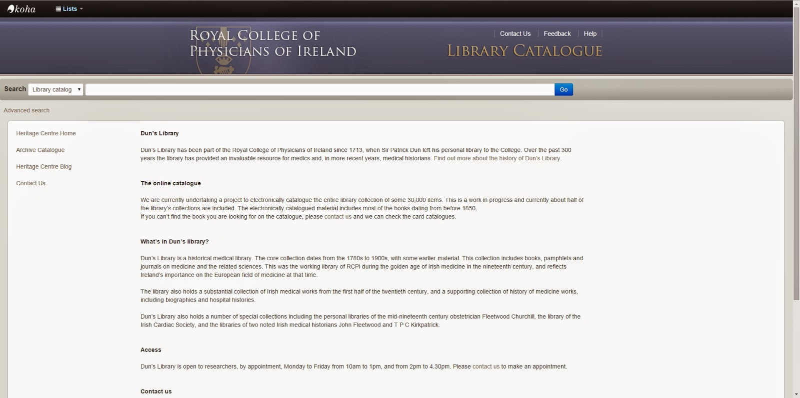 Upgrades to the RCPI's online library catalogue | RCPI Heritage