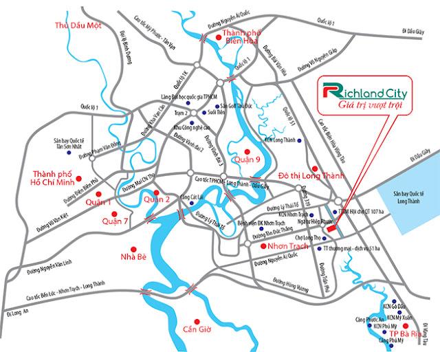sơ đồ vị trí dự án đất nền richland city