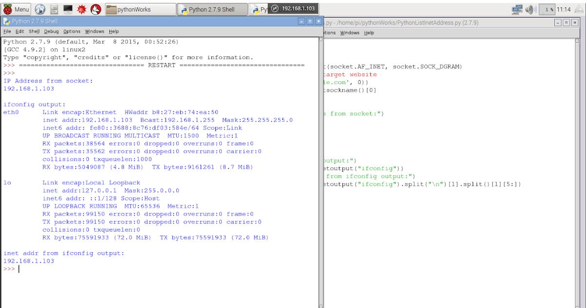 Hello Raspberry Pi: Python code to find my IP address, run on