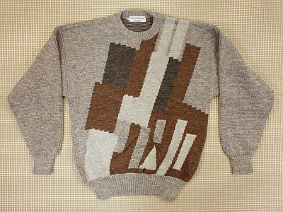 Machine knitted 80s geometrical pullover