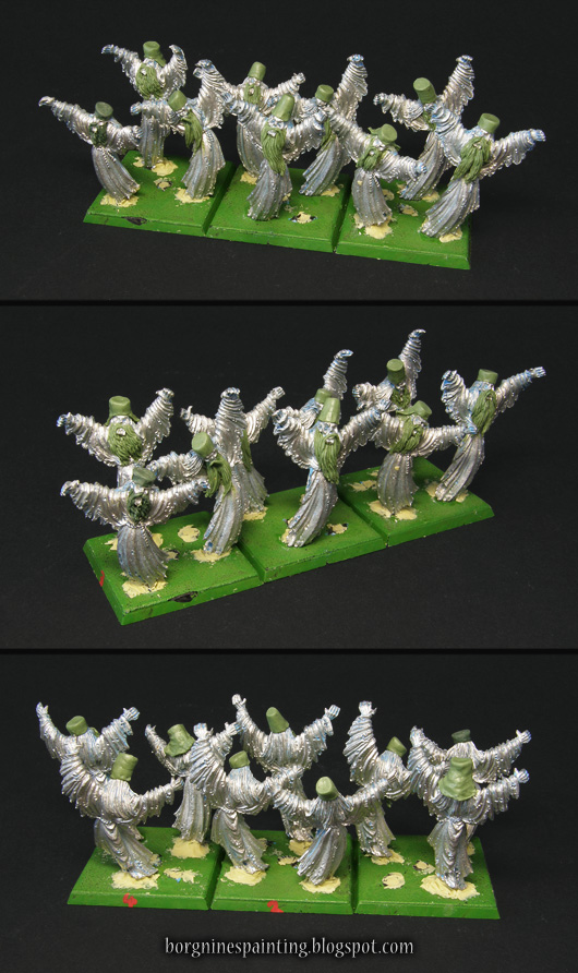 Three groups of Spirit Host miniatures for Warhammer, on square bases, visible from several angles. Original metal models have greenstuffed hats and beards to make them resemble russian hermits of old. They are usable in WFB or AoS.