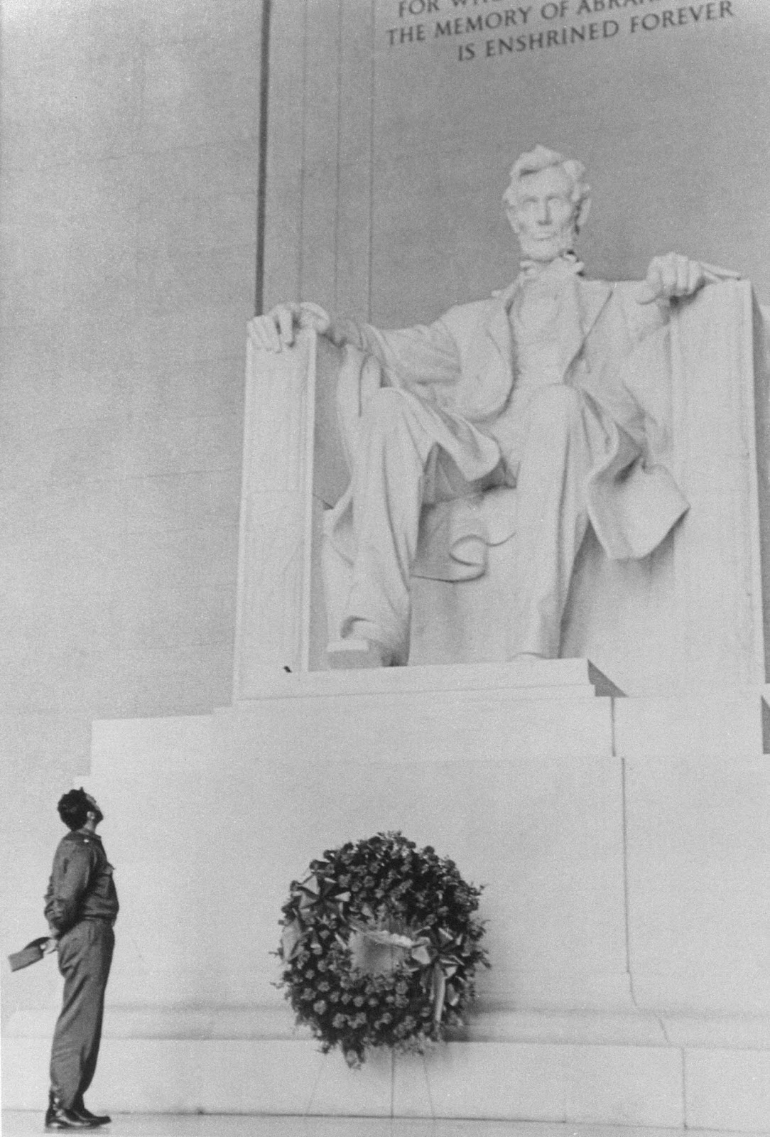 Castro visiting the Lincoln Memorial during his visit to the United States, 1959.
