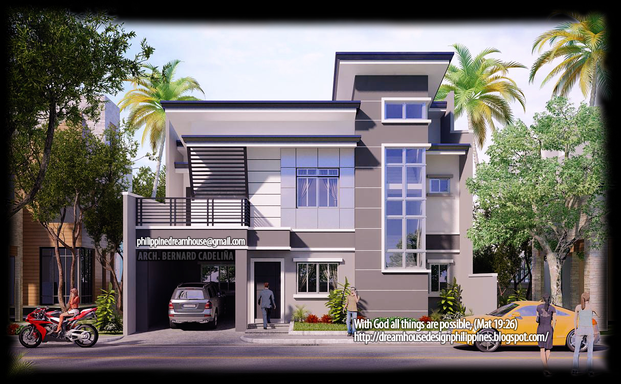 Two storey modern contemporary house front view