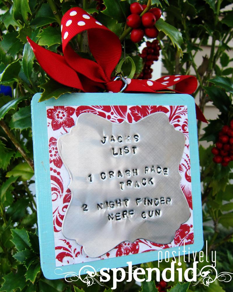 Photo Christmas List Ornament Tutorial - Positively Splendid ...