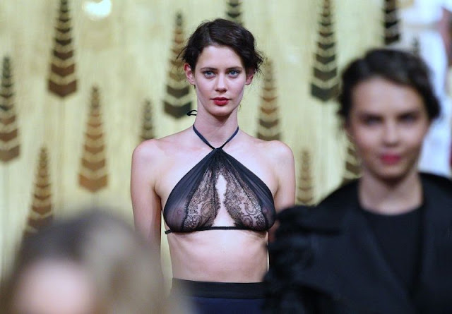 Model with out Bra