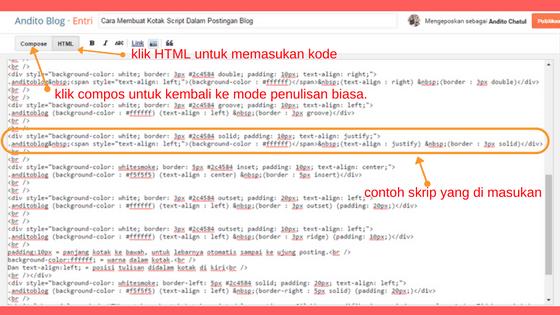 Cara Menambahkan Kotak Script Dalam Postingan Blog