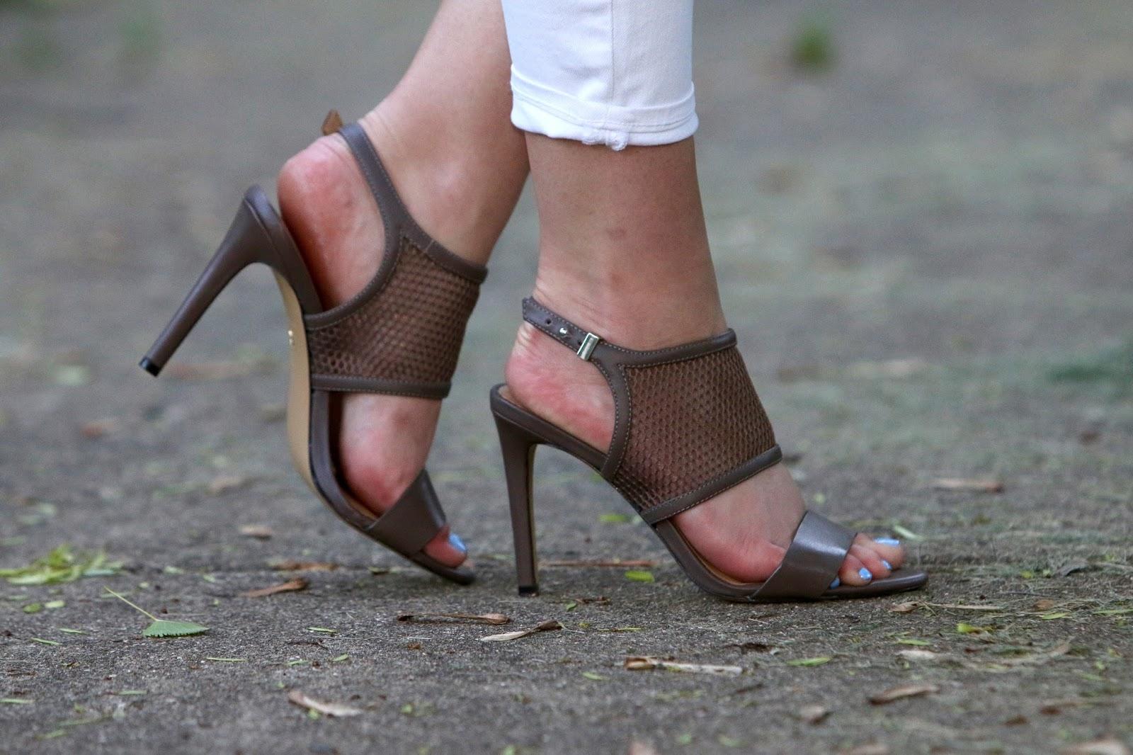 taupe mesh heels