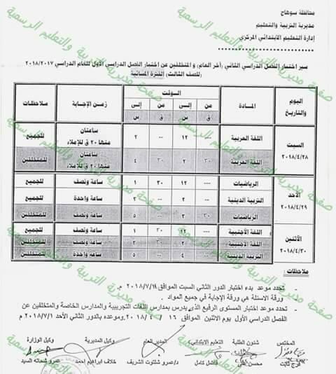 جدول امتحانات الصف الثالث الابتدائي 2018 الترم الثاني محافظة سوهاج