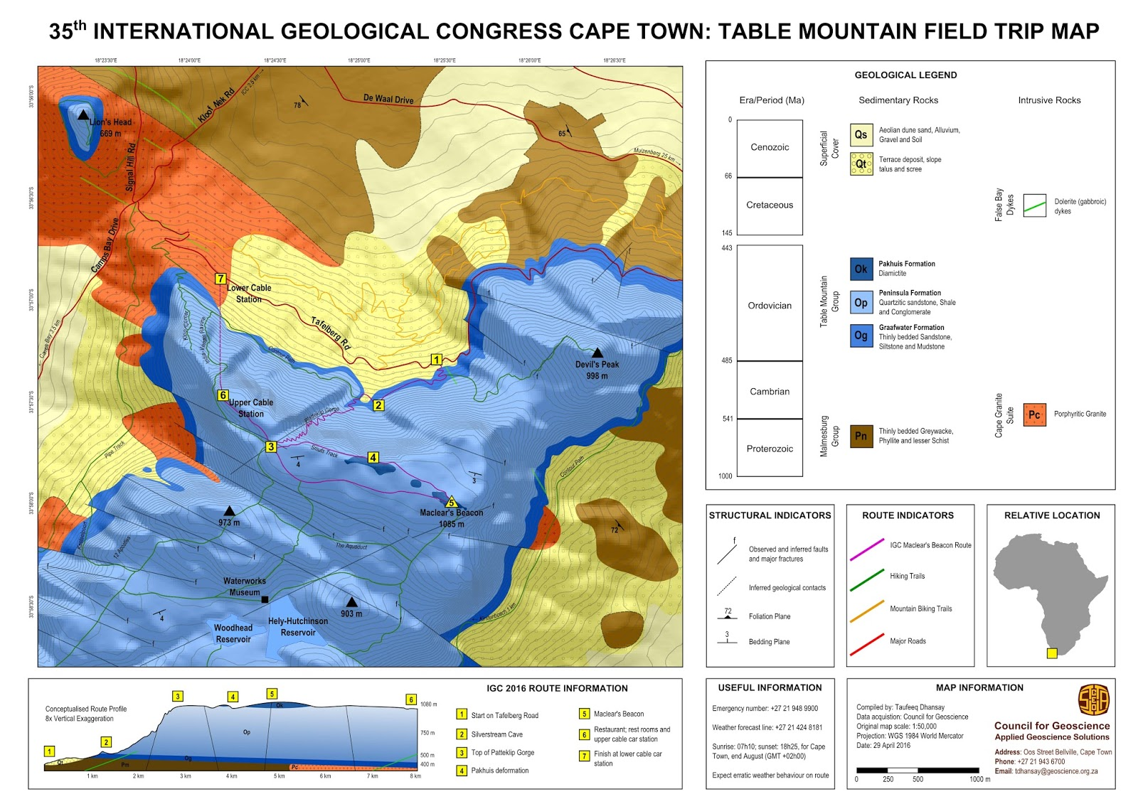 The Cgs Field School The Geology Of Table Mountain