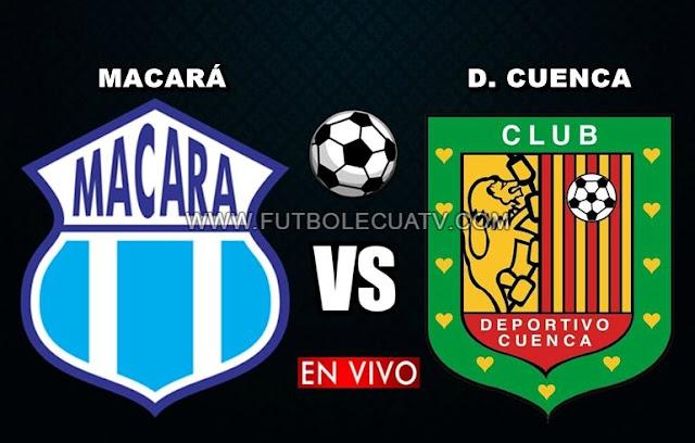 Macará y Deportivo Cuenca se miden en vivo a partir de las 17h30 horario de nuestro país por la fecha veintiocho del campeonato nacional a jugarse en el reducto Bellavista de Ambato, siendo el árbitro principal Diego Lara con emisión del canal autorizado GolTV Ecuador.