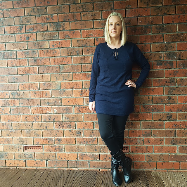 ALDI knit tunic, black Target skinny jeans | Almost Posh