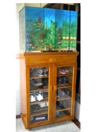 lemari rak sepatu kayu jati