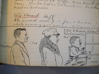 A series of sketched portraits and handwritten text.