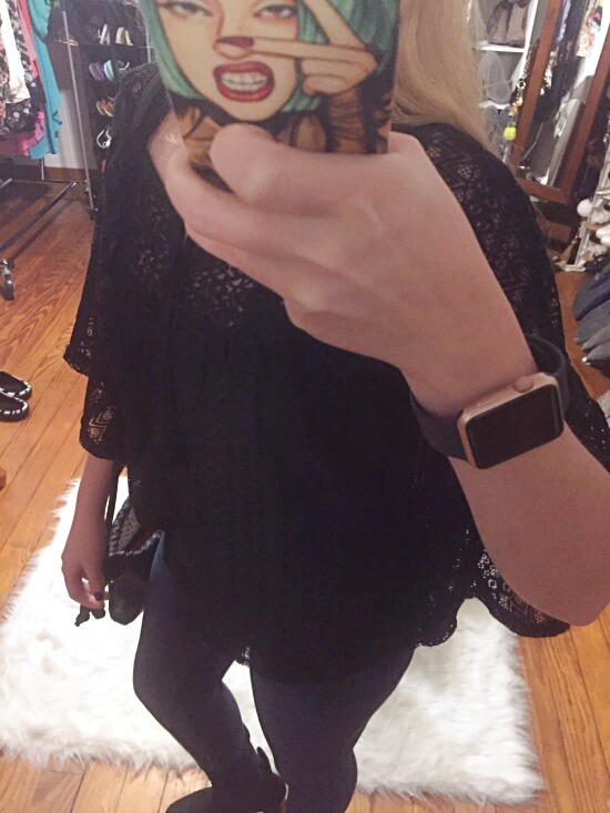 black crochet circle top outfit of the day