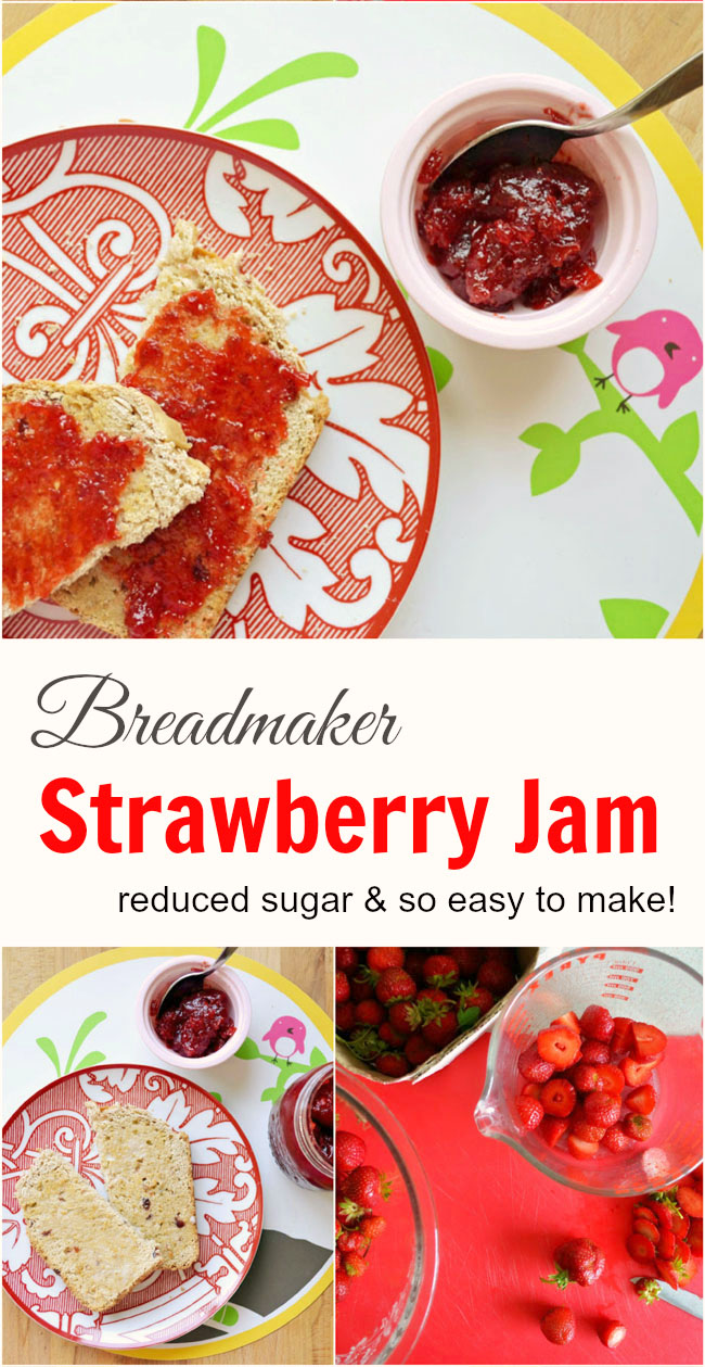 This breadmaker strawberry jam is so easy to make, it practically makes itself! Lower sugar and tastes delish! Naturally vegan.