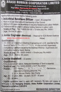 TN Arasu Rubber Corporation Ltd (ARCL) Kanniyakumari Recruitments May 2016
