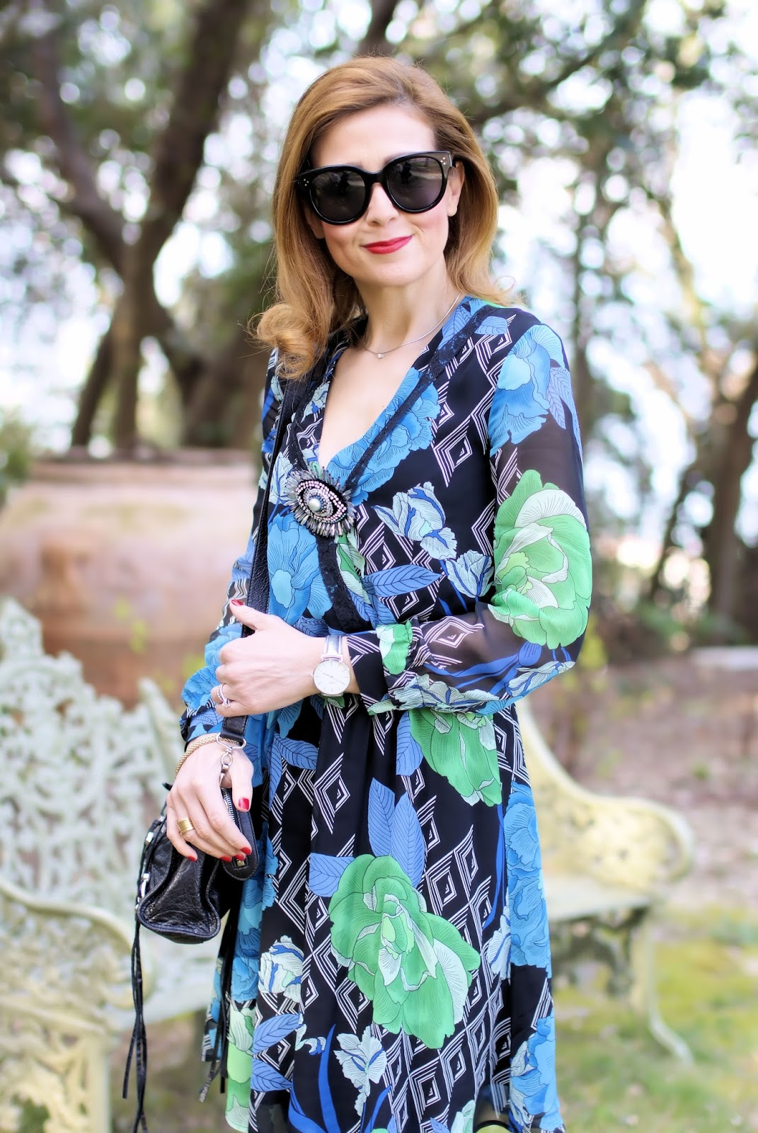 Pinko printed dress on Fashion and Cookies fashion blog, fashion blogger style