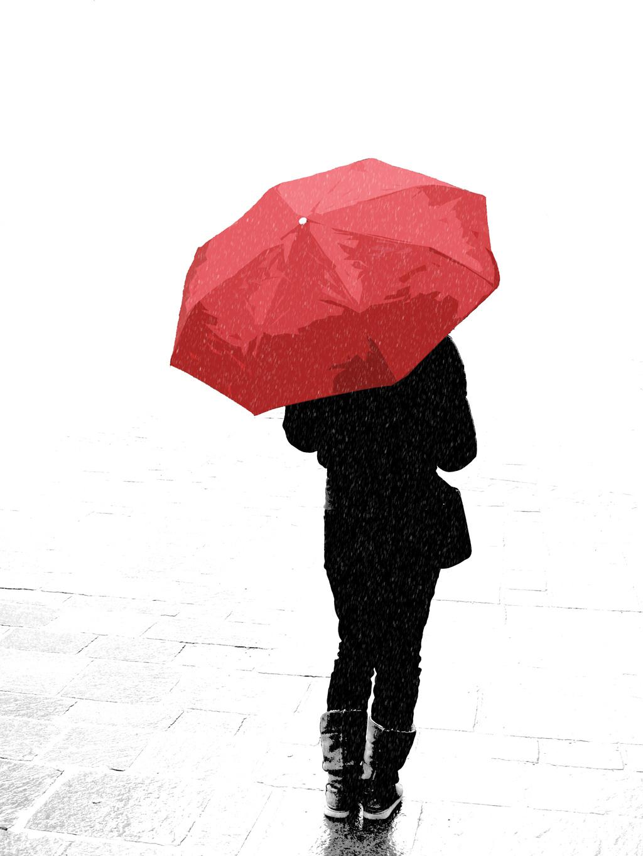 Rainy Wallpaper With Girl La Siguiente La Pago Yo Un Paraguas Color Rojo