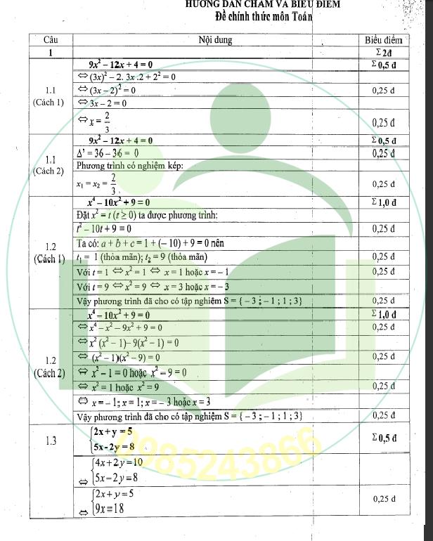 Đáp án môn toán thi vào lớp 10 tỉnh Đồng Nai